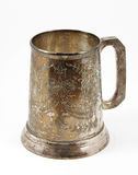 Een oude zilveren bierkroes Stock Foto's