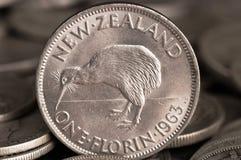 Het zilveren Muntstuk van de Kiwi Royalty-vrije Stock Afbeelding