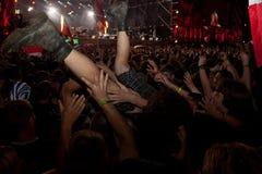 Een overleg bij het Woodstock-Festival in Kostrzyn-nad OdrÄ… Stock Afbeelding