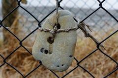 Een overzees versleten steen met twee gaten daarin is artfully gebonden aan een omheining royalty-vrije stock foto's