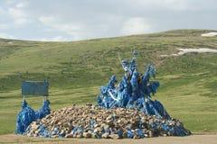 Een ovoo in Mongolië Stock Foto