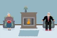 Een paar bejaarde mensen zitten door de open haard in een mooie comfortabele blauwe woonkamer royalty-vrije illustratie