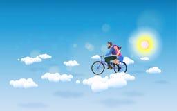 Een Paar berijdende fiets aan de hemel Het concept van de liefde Gelukkige Valentin vector illustratie