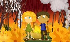 Een Paar in Bos met Wildfire stock illustratie