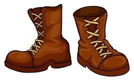 Een paar bruine laarzen Stock Fotografie