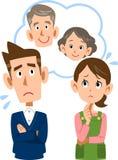 Een paar dat over hun ouders` oude dag moeilijk voelt royalty-vrije illustratie