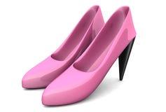 Een paar de hoog-hielschoenen van roze kleurenvrouwen Stock Afbeeldingen