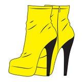 Een paar gele hoge hiellaarzen isolateds op een witte achtergrond Vector manierillustratie vector illustratie