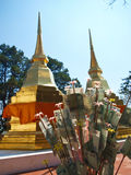 Een paar gouden pagoden in Phra die de tempel van Doi Tungboom Stock Fotografie