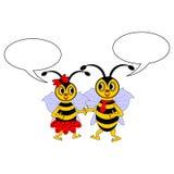 Een paar grappige beeldverhaalbijen met het babbelen borrelt Stock Afbeelding