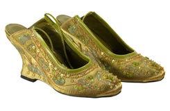 Een paar groene schoenen sequined rijk royalty-vrije stock fotografie