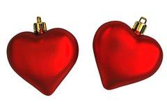 Een paar Harten van de Dag van Valentijnskaarten. Stock Afbeeldingen