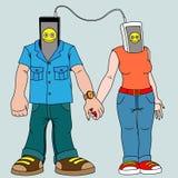 Een paar jongeren met gadgets Man en vrouw met telefoon in plaats van doelstellingen De telefoons voor hen zijn het meest Royalty-vrije Stock Foto's
