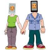 Een paar jongeren met gadgets Man en vrouw met telefoon in plaats van doelstellingen De telefoons voor hen zijn het meest Stock Fotografie