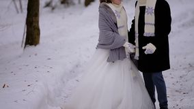 Een paar in liefde loopt door de sneeuwwinter de bosminnaars warme sjaals dragen Een jonge mens behandelt zijn girlfrie stock video