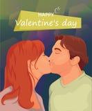 Een paar in liefde, romantische kus op mooie achtergrond Stock Foto's