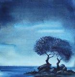 Een paar loofbomen op een uiterst klein steenachtig eiland in de nacht vector illustratie