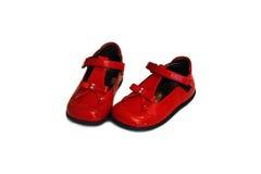 Een paar rode babyschoenen Stock Fotografie