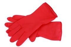Een paar rode rubberhandschoenen royalty-vrije stock foto's