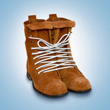 Een paar schoenen bond één kabeljauwlijn. Stock Foto