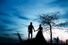 Een paar silhouetten het houden overhandigt en bevindt zich samen bekijkend elkaar in een datum zonsondergang kunstwerk Stock Foto