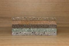 Een paar steekproeven van acryl kunstmatige steen Royalty-vrije Stock Afbeelding
