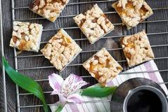 Een paar stukken van pastei en koffiepot Royalty-vrije Stock Foto