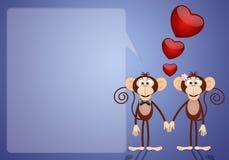 Een paar twee Apen in liefde Stock Fotografie