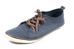 Een paar van het lopen van blauwe tennisschoenen Stock Fotografie