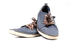 Een paar van het lopen van blauwe tennisschoenen Royalty-vrije Stock Afbeeldingen
