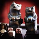 Een paar van Koper Cat Tableware Royalty-vrije Stock Afbeelding