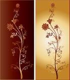 Een paar van Twee Lange Overladen Ingewikkelde Bloemen Royalty-vrije Stock Afbeeldingen