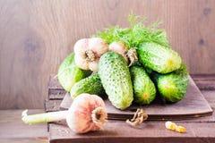 Een paar vers rijp komkommers, dille en knoflook op scherpe raad Royalty-vrije Stock Foto's