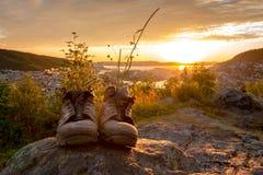 Een Paar Versleten Wandelingslaarzen stock foto