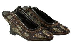 Een paar zwarte schoenen sequined rijk stock afbeelding