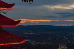 Een pagode in Lezing, Pennsylvania stock afbeeldingen