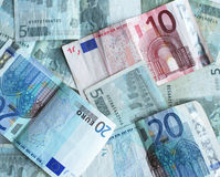 Gebruikte euro bankbiljetten Royalty-vrije Stock Foto's