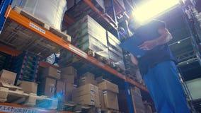Een pakhuisinspecteur tijdens het werk onder zonlichtstralen stock footage