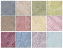 Een palet van texturen van gekleurde travertijn is het decoratieve behandelen voor muren royalty-vrije illustratie