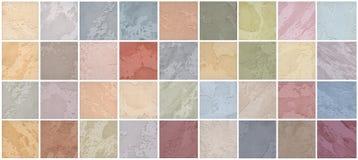 Een palet van texturen van gekleurde travertijn is het decoratieve behandelen voor muren vector illustratie
