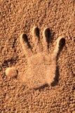 Een palmdruk op bruin zand royalty-vrije stock fotografie
