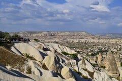 Een panorama van Goreme-vallei stock foto