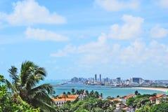 Een panoramamening van Recife van de heuvels van Olinda. Stock Afbeeldingen