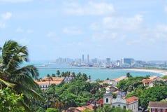 Een panoramamening van Recife van de heuvels van Olinda. Stock Foto