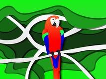 Een papegaai op witte boomtak royalty-vrije illustratie