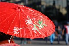 Een paraplu bij Chinees Nieuwjaar in Mexico-City, Mexico Royalty-vrije Stock Foto