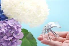 Een paraplu met een hydrangea hortensiaachtergrond die ter beschikking wordt gehouden Regenachtig seizoenconcept stock foto's
