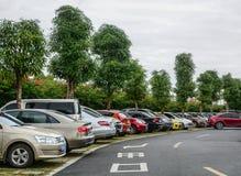 Een parkeerterrein in Nanning, China royalty-vrije stock fotografie