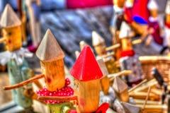 Een partij van houten marionetten royalty-vrije stock foto