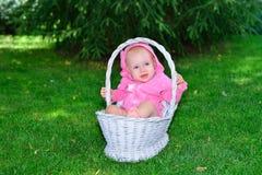 Een pasgeboren baby ligt in een mand op het gazon royalty-vrije stock afbeeldingen